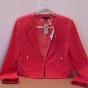 🍃🌺 Ann Taylor - Coral Tweed 'Cropped' Blazer 🍃